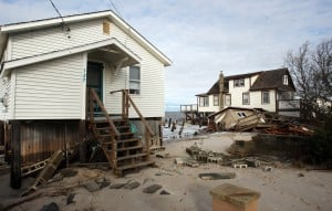 : Damaged homes on North Beach Ave on the Delaware Bay in Reeds Beach, Middle Township. Residents of Cape May County deal with the clean-up in the wake of Hurricane Sandy. Wednesday Oct. 31, 2012. (Dale Gerhard/Press of Atlantic City)  - Photo by Dale Gerhard