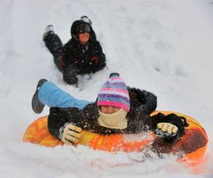 Snow storm slide