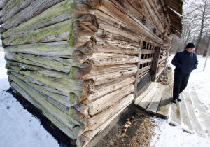 Swedish Granary: Joe Mathews of the Cumberland Historical Society said the society is trying to determine if the Swedish Granary in Greenwich, is the oldest building of its kind in the United States. Original white cedar logs used in the granary construction may date back to 1650. Monday Feb. 10, 2014. (Dale Gerhard/Press of Atlantic City) - Dale Gerhard