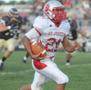 Absegami Football: St. Joe's Cody Sampson makes another big play during their opening game of the season against Absegami held at Absegami High School in Galloway. Photo/Dave Griffin - David Griffin