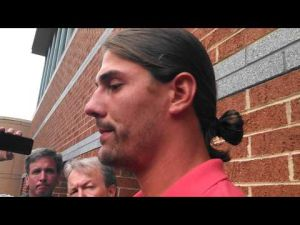 Riley Cooper talks to the media about using a racial slur