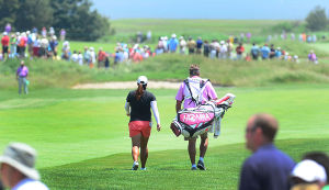 LPGA: Shanshan Feng walks the 1st hole to start the last day. Sunday June 2 2013 LPGA ShopRite Classic at Seaview Resort in Galloway. Final Day. (The Press of Atlantic City / Ben Fogletto)  - Ben Fogletto