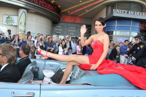 MISS AMERICA PARADE 2014: Miss Michigan 2014 Haley Williams showed off her legs — um, shoes — while being chauffeured in a classic convertible during the 2014 Miss America parade. - Staff photo by Edward Lea, Sept. 14, 2013