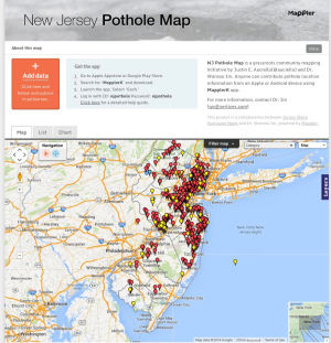Pothole Map: Screen shot of the pothole map of New Jersey from http://mappler.net/njpothole/. NJ Pothole Map is a grassroots community mapping initiative by Justin E. Auciello(@auciello) and Dr. Wansoo Im. Anyone can contribute pothole location information from an Apple or Android device using MapplerK app. - Screen shot