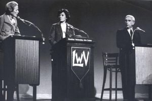 Stockton PAC Center 003.jpg: Oct. 27, 1982. U.S. Rep. Millicent Fenwick (R), right, debates Frank Lautenberg, left, in the Stockton PAC, during the 1982 campaign for U.S. Senate. Fenwick narrowly lost the election to Democratic candidate Frank Lautenberg.