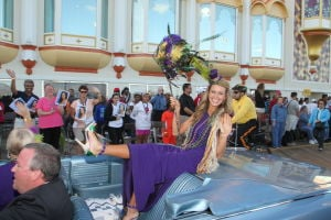 MISS AMERICA PARADE: Miss Louisiana Jaden Leach show off her shoe as she waves to during Miss America parade on Atlantic City Boardwalk Saturday, Sept 14, 2013. - Photo by Edward Lea