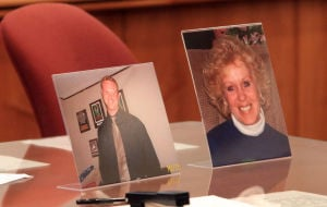 Latko Sentencing: Photos of mother and son Diana and Ryan Patterson. of Hammonton, displayed during the sentencing of Patrick Latko, who was found guilty of the killing of the two, in court in Mays Landing, Monday June 10, 2013.  - Vernon Ogrodnek