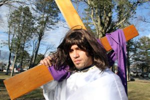 M28 Holy Thursday15.jpg: Jose Mendez, 25 of Mays Landing, shown Tuesday, is playing Jesus this year at the Stations of the Cross ceremony in Egg Harbor City St. Nicholas Church.  - Photo by Edward Lea