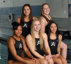 Swimmers: Atlantic City senior swimmers (back row from left) Dominique Voso, Colleen Callahan, (front row) Ayana Cox, Melissa Toy and Elvia Alvarez hope to win the CAL American Conference title this season.  - Staff Photo By Michael Ein