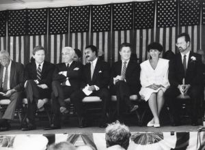 Whelan.jpg: July 2, 1990. Atlantic City Mayor-elect Jim Whelan' s swearing-in ceremony. From left to right: Out-going Mayor Jim Usry, State Sen. Bill Gormley,  U.S. Sen. Frank Lautenberg, Ron Brown, NJ Gov. Jim Florio, Kathy and Jim Whelan. Whelan, a Democrat, replaced Republican James L. Usry, whom he defeated in a run-off election June 12.