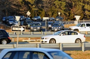 ROUND AND ROUND WE GO: Heavy traffic flows slowly through the Airport Circle in Egg Harbor Township at the end of November.   - Michael Ein