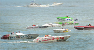 AC Power Boats: Boats gather for the start of the first race. Sunday June 23 2013 Atlantic City Offshore Grand Prix powerboat race off the beach in Atlantic City. (The Press of Atlantic City / Ben Fogletto)  - Ben Fogletto