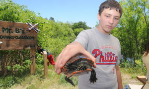 EGAP J12 CAP Nature Fest: Sean Buskirk, 13, of Galloway Township, held an Eastern painted turtle that was captured and released during Galloway Middle School's third annual Nature Fest in Mr. B's Backyard Classroom. Photo by Dave Griffin
