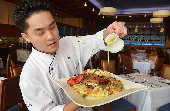 Chef combines quiche with pancakes for a memorable dish