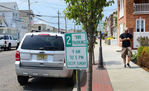 Shore Parking Spaces: Two hour parking is enforced daily except Sunday on Washington Avenue in Margate. Sunday June 9 2013 (The Press of Atlantic City / Ben Fogletto)  - Ben Fogletto