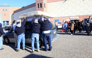 PIF FURNITURE GIVEAWAY: Donated mattresses are loaded onto vehicles at Sandcastle Stadium, in Atlantic City, Wednesday Nov. 14, 2012, in an effort to help Atlantic City school families affected by Hurricane Sandy, coordinated by Atlantic City schools working with Cooper Levenson law firm.