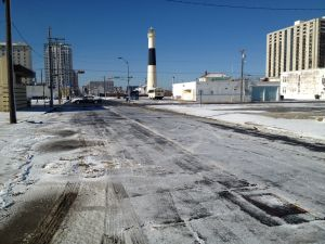 View From Pacific Avenue In Atlantic City: View of the ice and snow on Pacific Avenue near the inlet in Atlantic City.  - Photo by Edward Lea