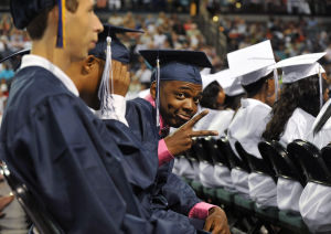 ATLANTIC CITY GRADUATION: Ahmir Harper, 19, of Atlantic City, at the Atlantic City High School graduation ceremony , Wednesday June 19, 2013, at Boardwalk Hall in Atlantic City. (The Press of Atlantic City/Staff Photo by Michael Ein)  - Michael Ein