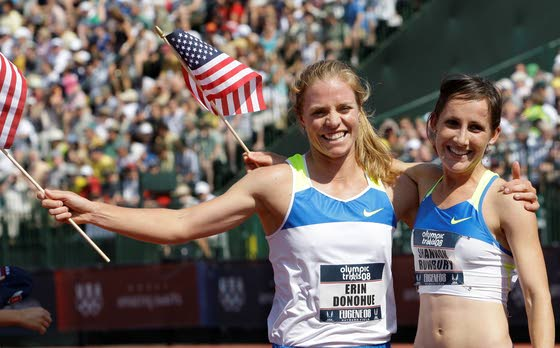 Track and Field Olympian Erin Donohue (left), Distance