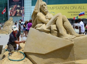 SAND SCULPTING: Sunday June 16 2013 World Championship of Sand Sculpting on the beach next to the Pier at Caesars in Atlantic City. (The Press of Atlantic City / Ben Fogletto)  - Photo by Ben Fogletto