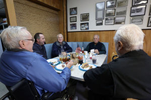 Greasy Spoons: Lunch Club members from left: Frank Nugent, of Northfield, Mike Nugent, of Estell Manor, Bob Nugent, of Northfield, Jim Marshall, of Linwood, and Norm Hilton, of Northfield, meet at Essl's Dugout, Wednesday April 30, 2014, in Egg Harbor Township. (Staff Photo by Michael Ein/The Press of Atlantic City) - Michael Ein