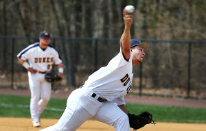 Cumberland County Baseball: Cumberland pitcher 16 Justin Geri works during the first inning. Sunday April 13 2014 Middlesex County College at Cumberland County College Baseball. (The Press of Atlantic City / Ben Fogletto) - Ben Fogletto