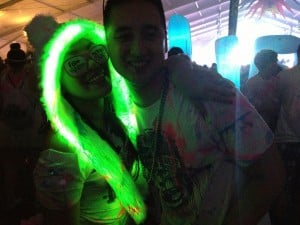 Bitmap: Natalie Taimanglo and Joey Tuso from Pennsylvania pose for the camera at the Steve Aoki Life In Color Concert at Bader Field.  - Nastassia Davis