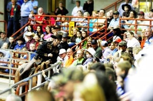 PerryRodeo: Rodeo performer Tommy Turvey interacts with the crowd.  Photos By Danny Gilleland Perry, Ga 02/19/11 - Photo by Danny Gilleland