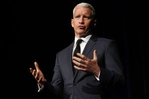 Cooper: CNN anchor Anderson Cooper answers questions from the audience as the featured guest speaker at 24th annual Stainton Society Brunch in Atlantic City.  - Photo by Sean M. Fitzgerald