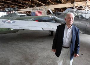 A Historic Union: Joe Salvatore stands in front of some of the 26 military aircraft that can be seen at the Naval Air Station Wildwood Aviation Museum in Lower Township.