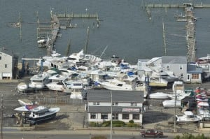 Sandy Boats: Aerial view of a boat pile at a marina in Ship Bottom, Thursday Nov. 1, 2012, following Hurricane Sandy. (The Press of Atlantic City/Staff Photo by Michael Ein)  - Michael Ein