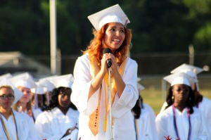 Bridgeton Graduation: Valedictorian Melanie Carrion, 17, from Bridgeton, address the audience during the Bridgeton High School�s Class of 2014 Commencement Program held at the Jim Hursey Memorial Stadium in Bridgeton Tuesday, June 24, 2014. Photo/Dave Griff - Dave Griffin