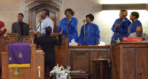Easter Music: Atlantic City Choir members (l-r) John McQueen, Keith Harris, Dinita Bailey, Yvonne Preston, Nadeen Nelson and Frenchie Holmes sing as Rev. William M. Williams (front) sings along. Sunday March 24 2013 Asbury United Methodist Church, Atlantic City. (The Press of Atlantic City / Ben Fogletto)  - Ben Fogletto