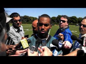 DeSean Jackson talks after Tuesday's minicamp