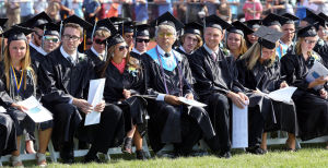 LCMR Graduation: Graduates listen to speeches during the Lower Cape May Regional High School graduation. Friday June 20, 2014. (Dale Gerhard/Press of Atlantic City) - Dale Gerhard