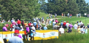 LPGA: A larger than usual (for the 1st day) crowd watches action between the 3rd and 4th holes. Friday May 31 2013 LPGA ShopRite Classic at Seaview Resort in Galloway. Day 1 (The Press of Atlantic City / Ben Fogletto)  - Photo by Ben Fogletto
