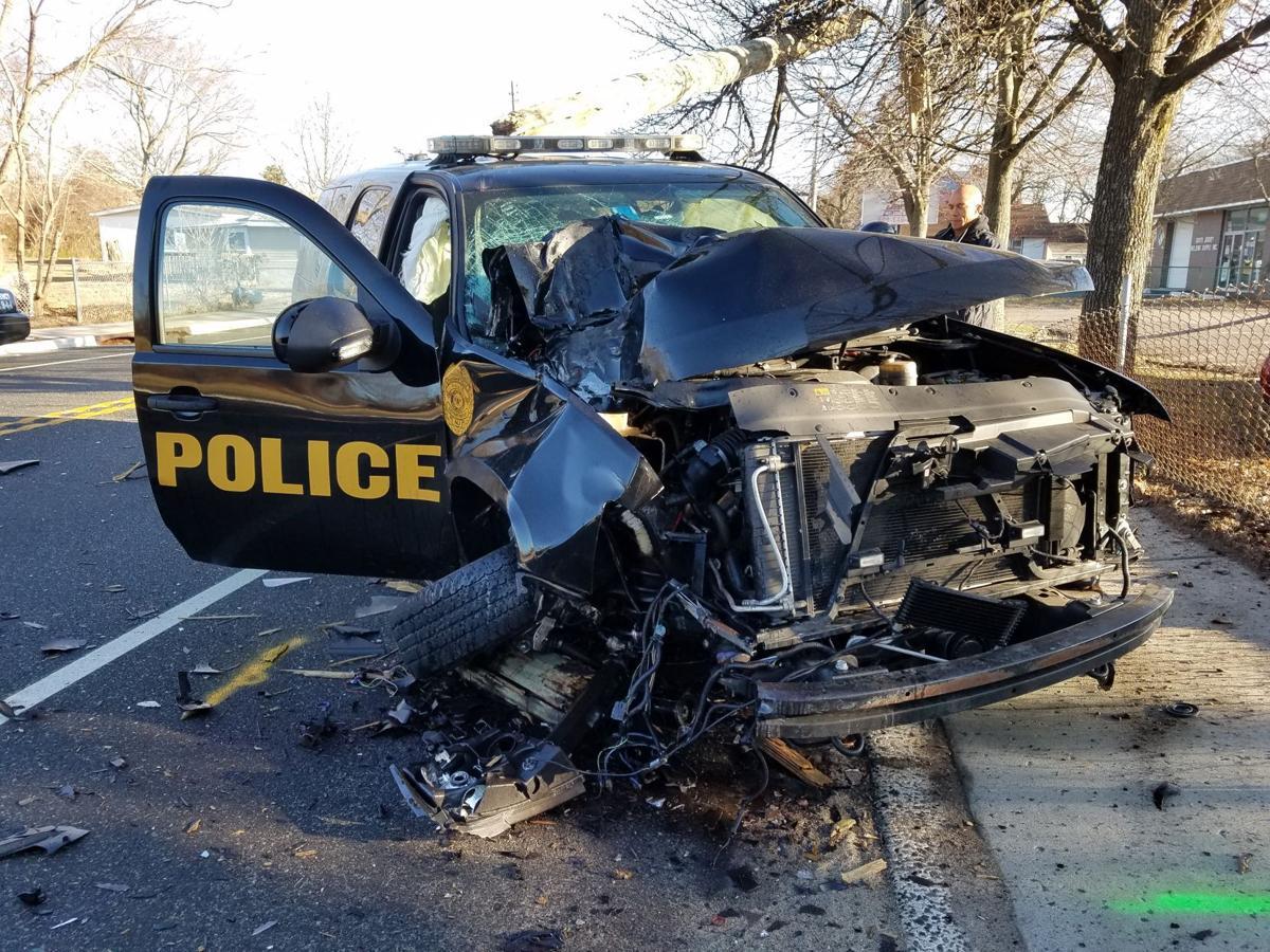 Damage to Pleasantville Police vehicle