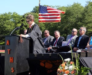 MIddle Township Graduation: Valedictorian Zachery Peterson delivers his address. Middle Township High School held their 106th annual commencement ceremony on Memorial Field in Cape May Court House. Tuesday June 24, 2014. (Dale Gerhard/Press of Atlantic City) - Dale Gerhard