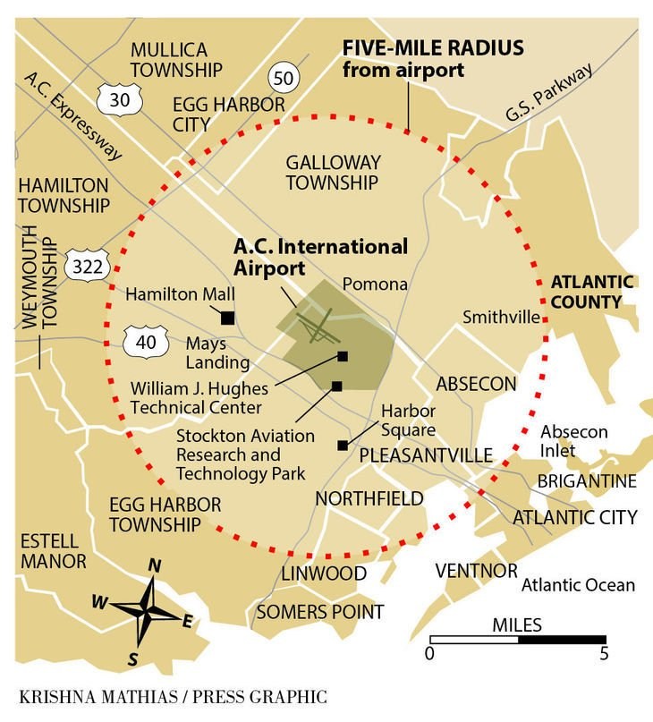 AC Airport 5-mile radius map