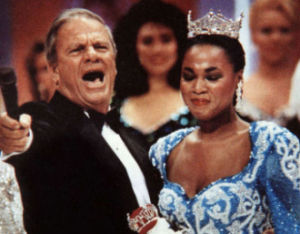 "Bert Parks: Longtime Miss America Pageant host Bert Parks sings ""There She Is"" during the crowning of Miss America 1992, Marjorie Vincent, in Atlantic City, September 10, 1991.  - Vernon Ogrodnek"