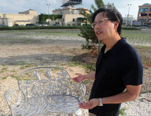 Artandmusic: Curator Lance Fung talks about phase two of the Artlantic park on the site of the former Sands Casino Hotel, which includes furniture fabricated by artist Jed Morfit. - Sean M. Fitzgerald