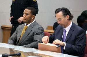 Ray Rice Arraigned: Baltimore Ravens player Ray Rice, left, and lawyer Michael Diamondstein sit in the Atlantic County court house in Mays Landing, Thursday May 1, 2014, for his arraignment. Rice faces assault charges for the alleged assault at Revel in Atlantic City on his now wife. (The Press of Atlantic City/Staff Photo by Michael Ein) - Michael Ein
