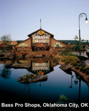 Bass Pro Shops: Bass Pro Shops, seen in in Oklahoma City, Okla., operates 58 retail stores in 26 states and Canada. Over 113 million people visit the stores each year.  - Bass Pro Shops