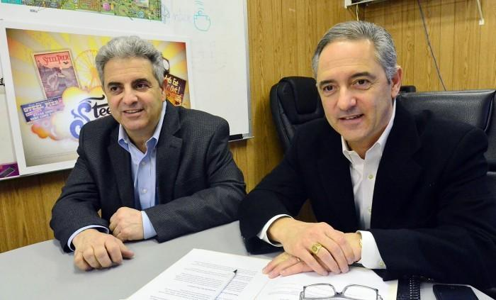 <p>Steel Pier owners William Catanoso, left, and Anthony Catanoso talk the up-coming plans for the attraction in Atlantic City.</p>