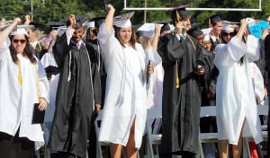 MIddle Township Graduation: Graduates move their tassels. Middle Township High School held their 106th annual commencement ceremony on Memorial Field in Cape May Court House. Tuesday June 24, 2014. (Dale Gerhard/Press of Atlantic City) - Dale Gerhard