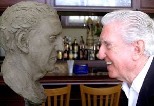 Cozy: Cozy Morley had a chance to see himself up close as a statue of the entertainer was being made in North Wildwood in 2002. - File photo