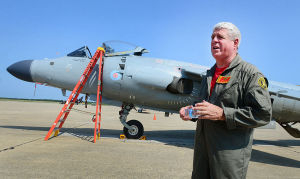 Personal Harrier: Art Nalls talks about the history of the Harrier (rear). Monday June 24 2013 Former Royal Navy SeaHarrier jet privately owned by Art Nalls, Lt. Col. USMC (ret) lands at Atlantic City International Airport in EHT for the upcoming Atlantic City Air Show. (The Press of Atlantic City / Ben Fogletto)  - Ben Fogletto