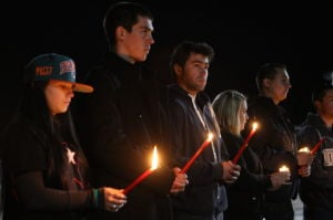 Vigil For Matthew Uhl: Family and friends take part in candlelight vigil for Matthew Uhl, of Little Egg Harbor Township,who died Friday afternoon from injuries sustained when he was struck by a vehicle on State Street in Glassboro.  - Edward Lea