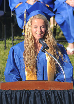 Buena Regional High School Graduation: Salutatorian Gina Testa, 17, from Buena, address the audience during Buena Regional High School's Class of 2014 Commencement Program held at the High School in Buena Friday, June 20, 2014. Photo/Dave Griffin - Dave Griffin