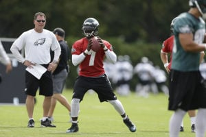 Michael Vick: Philadelphia Eagles quarterback Michael Vick goes back to pass as offensive coordinator Pat Shurmur looks on during practice Thursday in Philadelphia. - Photo by Matt Rourke